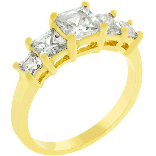 2.5 Carat (ct, cttw, ctw) Five Stone Princess Cut 14k Gold Plate Cubic Zirconia CZ Anniversary Ring (Size 5,6,7,8,9,10)