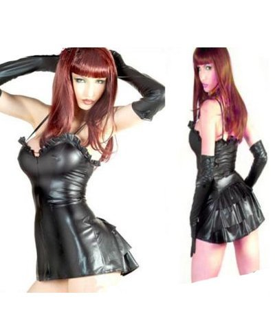 Black Vinyl Sexy Baby Doll Dress - Zip Up Front - Includes Pvc Top Black Hold Up Fish Net Stockings (L)