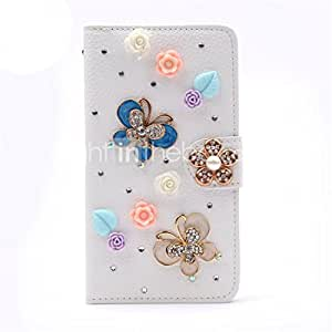 Luxury Stand Flip Leather Diamond Bowknot Flower Wallet Case For Samsung Galaxy Note 4 #04756820