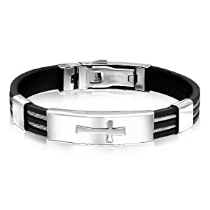 Bling Jewelry Mens Stainless Steel and Rubber Wide Cross ID Bracelet 8in