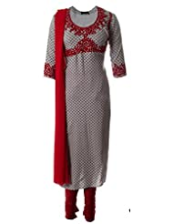 Printed Fine Cotton Kurti With Red Dori Embroidered Churidar Suit