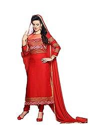 Krishna Fashion Women's Cotton Unstitched Dress Material (hari 1105_Red_Free Size)