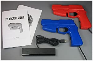 Dual Arcade Guns PC Light Gun Kit (Blue & Red) - [Black Buttons/Trigger] by Harbo Entertainment LLC