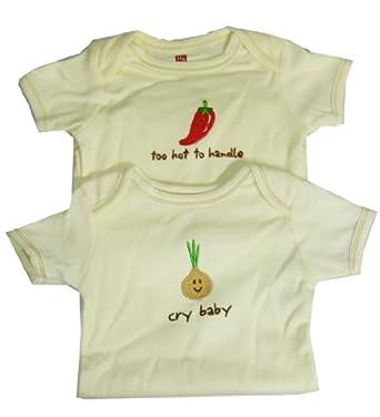 Hudson Baby Natural Organic Bodysuit,0-3 Months,2 Pack: Pepper & Onion.2 Pack: Pepper & Onion