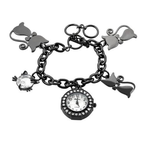 Geneva Platinum Women's Cat Charm Bracelet Watch