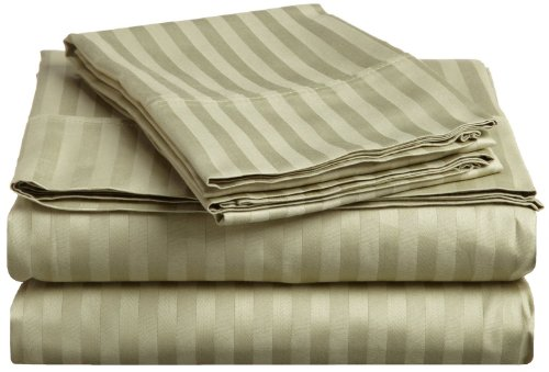 Impressions Genuine Egyptian Cotton 300 Thread Count Twin Xl 3-Piece Sheet Set Stripe, Sage front-780700