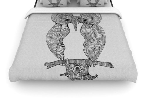 "Kess Inhouse Belinda Gillies ""Owl"" 88 By 88-Inch Woven Duvet Cover, Queen front-1003384"