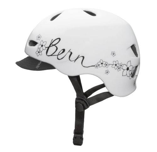Bern Berkeley Summer Gloss Flower Graphic Helmet with Visor, White