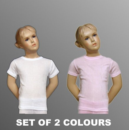 Set of 2 Colours Girls Thermal Underwear Short Sleeve Vest, Various Sizes