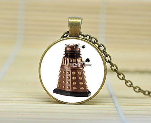 SunShine Day Dalek Necklace. Tardis Pendant. Doctor Who Necklace Glass Cabochon Necklace A3019