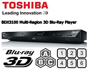 TOSHIBA BDX3100 Multi-Region 3D Blu-Ray Player - Multi Region for DVD Region 1-6 and Blu-Ray Region A B & C with USB - Playback DivX, MP3 and JPEG files from your PC and other digital devices + Free Gold Plated HDMI Cable