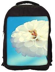 Snoogg Flower White Backpack Rucksack School Travel Unisex Casual Canvas Bag Bookbag Satchel