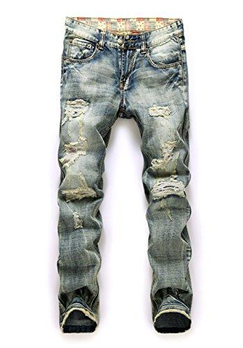 Feeson Mens Vintage Casual Ripped Broken Hole Jeans Denim Jogger Pants Plus Light Blue 36 (Men Plus Pants compare prices)