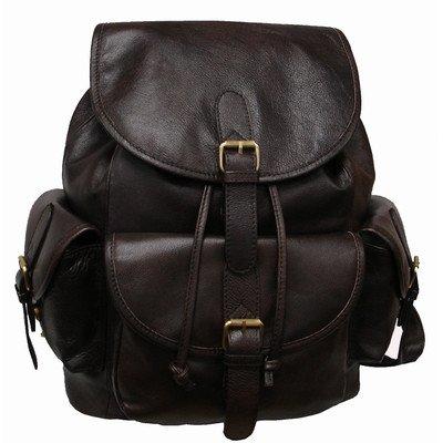 AmeriLeather Urban Buckle-Flap Backpack (Dark Brown)