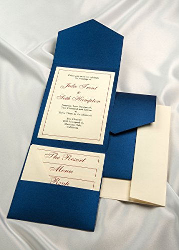 All-in-One Pocket Invitation Kit - Royal Blue Elegance - Pack of 20