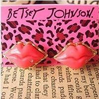 [コスモカウ]CosmoCow ピアス かわいい ファッション 赤い唇 リップ キスマーク形 ピアス 金色の縁 JC-E2042 [インポート]