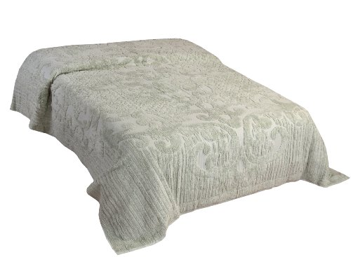 Better Trends / Pan Overseas Ashton 430 Gsm Heavy Weight 100-Percent Cotton Chenille Tufted Bedspread, King, Sage front-1000520