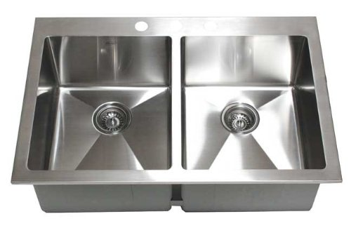 33 Inch Top-Mount / Drop-In Stainless Steel Double Bowl Kitchen Sink 15 mm Radius Design 16 Gauge