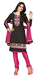 Lovely Look Latest Black Embroidered Dress Material