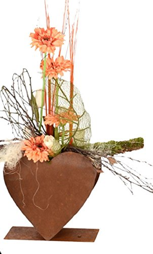 Dewoga herz doppelt auf platte 28x28cm edelrost rost for Gartendeko rost herz
