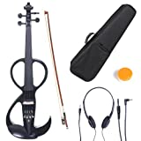 Cecilio 4/4 CEVN-3BK Solid Wood Electric/Silent Violin with Ebony Fittings in Style 3 - Full Size - Black Metallic