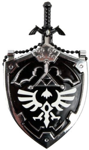 Mini DARK Hylian Shield & Links Master Sword Legend of Zelda Necklace