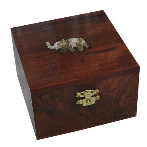 Square Wooden Jewelry Box Brass Inlay Elephant Design