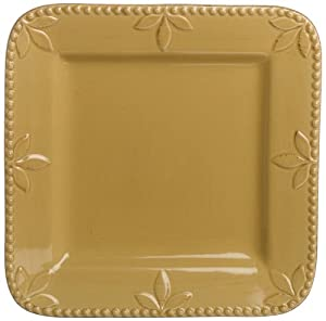 Signature Housewares Sorrento Collection 11-Inch Square Plates, Gold Antiqued Finish, Set of 4