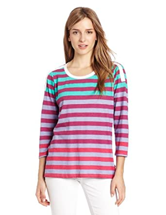 Dickies Women's Button Shoulder Tee, Pink Berry Stripe, Medium