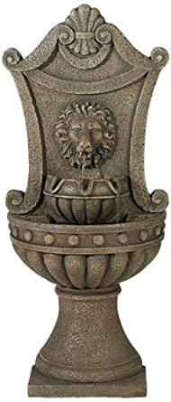 Regal Lion Head Faux Standing Floor Standing Wall Fountain