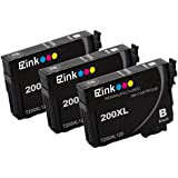 E-Z Ink Remanufactured Ink Cartridge Replacement for Epson 200XL (3 Black) Compatible with XP-200 WF-2540 XP-300 WF-2530 XP-410 WF-2520 XP-400 XP-310 Printer