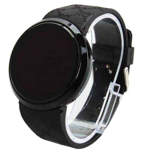 Women Men Touch Screen Circular Pattern Day Date Silicone Sport LED Wrist Watch