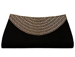 Spice Art Womens Embroidered Black Clutch