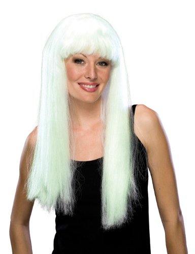 Rubie's Costume Glow-In-The-Dark Long Wig, White, One Size