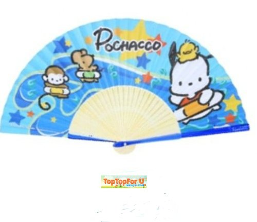 Authentic Sanrio Pochacco Pc Dog Folding Paper Fan Hello Kitty Friend