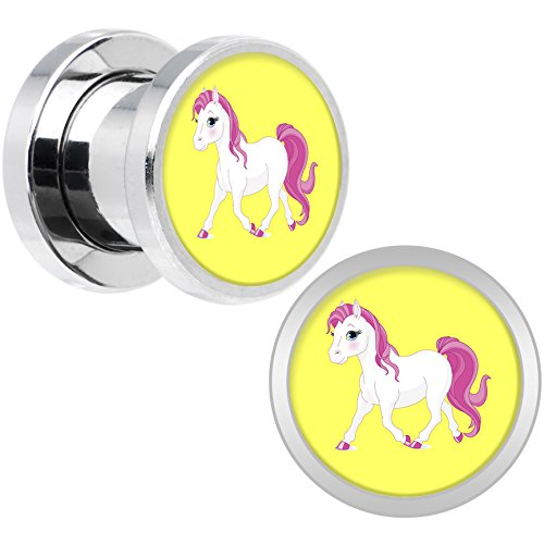 Body Candy Stainless Steel Blushing Pink White Pony Screw Fit Double Flare Plug Pair 0 Gauge (Pony Plug Adult compare prices)