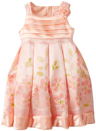 Younghearts Little Girls' Dress With Rosette, Red Music, 3T