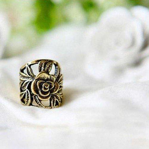 Big Bargain Fashion Vintage Bronze Carved Leaf Rose Flower Finger Ring