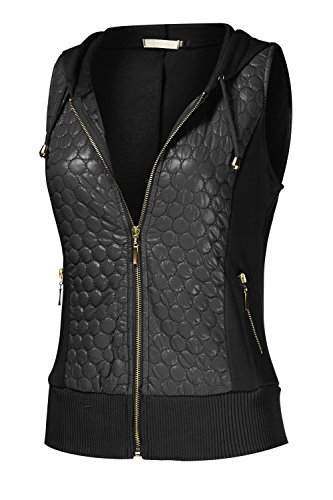 Women's Quilted Zip-Up Hooded Vest with Fleece Hoodies (QPAD) 001-BLACK US S,001-BLACK,US S Quilted Thermal Vest