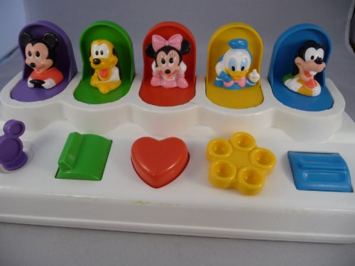 Disney Mattel Baby Pop Up Toy Game Mickey Mouse Pluto Minnie Donald Goofy - 1