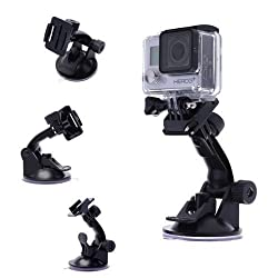 TELESIN Suction Cup Mount for Gopro Hd Hero 4 Hero 3+ Hero3 Hero 2 Hd and Sj4000, Sj5000 Cameras (Suction Cup Mount)