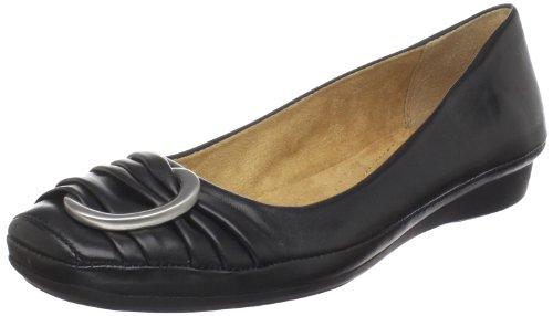 Naturalizer Women's Violette Flat,Black Leather,6.5 M US