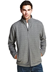 Funnel Neck Supersoft Herringbone Fleece Jacket