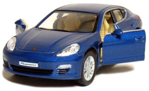 "5"" Die-cast Porsche Panamera S 1/40 Scale (Blue), Pull Back n Go Action."