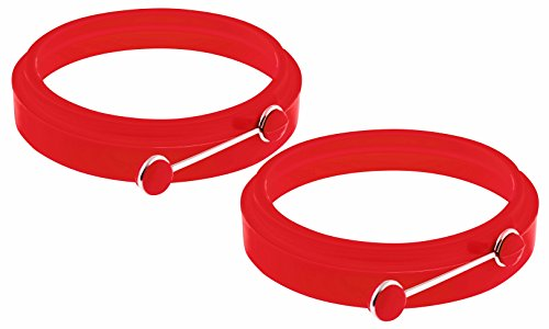 YumYum Utensils Egg Rings, Premium Set of 2 Red Non Stick Egg Ring Cooking Molds.