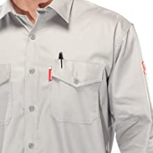 Benchmark Men's Flame Resistant Button Front Shirt, Lightweight, HRC 1