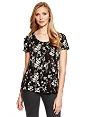 M&S Collection 7 Pleat Floral Top with StayNEW™