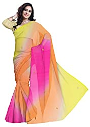 GiftPiper Pure Chiffon Kalabattu Work Saree- Yellow&Pink