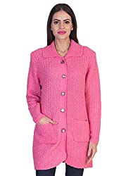 Mable Women Stylish buttoned woollen pink Cardigan