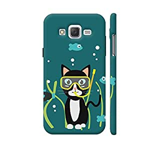 Colorpur Underwater Diving Cat With Fish Designer Mobile Phone Case Back Cover For Samsung Galaxy J5 | Artist: Torben
